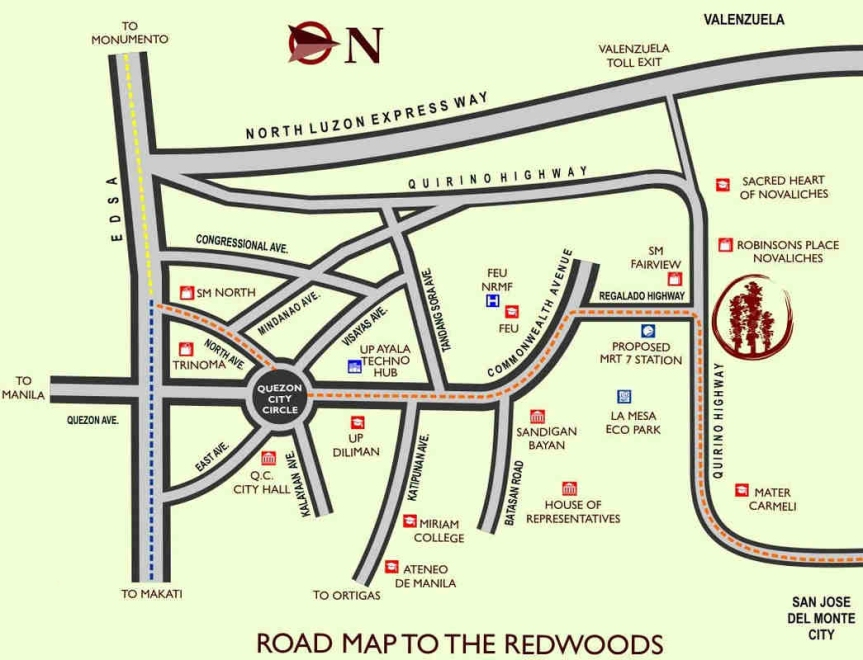 The Redwoods Location Map